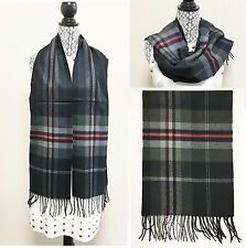 NEW BLACK+GRAY+RED+WHITE CHECKER,PLAID WITH FRINGE SCARF,WRAP,SHAWL,STOLE