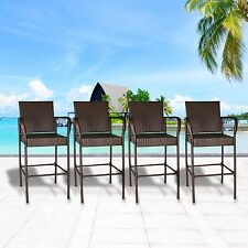 Set of 4 Outdoor Wicker Bar Stool Outdoor Patio Furniture Bar Chairs, Brown