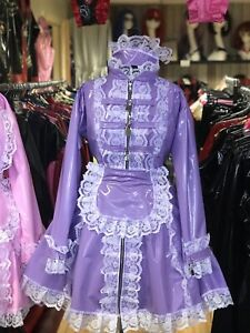 Misfitz Ltd Edition Lilac Pvc padlock lockable Sissy Maids Dress,size 22 TV CD