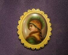Vintage Miniature Hand Painted Portrait of a Woman on Brooch