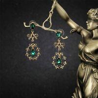 Boucles d'oreilles Doré Goutte Noeud Papillon Bow Art Deco Vert Emeraude QD5
