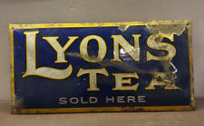 Enamel Sign Lyons Tea Original Old Rare Advertising Antique Collectable Vintage