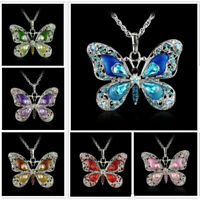 Fashion Sweater Chain Women's Jewelry Butterfly Crystal Animal Necklace Pendant