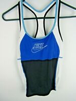 Nike Women's Sz 8 Blue-White Tankini Swim Top Racer Back Built in Bra