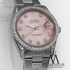 Diamond Rolex DateJust 16200 36mm Pink Diamond Dial on Oyster Bracelet Watch