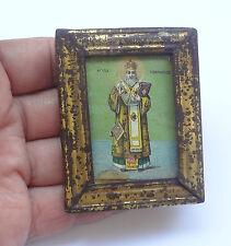 1920's Saint ATHANASIUS Antique Greek Orthodox Icon on Wood Tin Frame + Glass