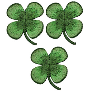 """Four Leaf Clover Applique Patch - Shamrock, Good Luck 1.5"""" (3-Pack, Iron on)"""