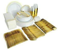 400 Piece Gold Plastic Disposable Dinnerware Set & Plates for 50 Party Guests