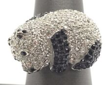 Sterling Silver Black Onyx - CZ Cluster Relaxing Panda Bear Cocktail Ring 7.25