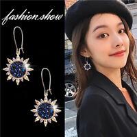 Trendy Sunflower Ear Stud Rhinestone Dangle Hoop Earrings Women Wedding Jewelry
