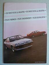 Prospekt Opel Manta GT/E, CC Berlinetta, 8.1980, 4 Seiten, französisch