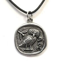 Athena Minerva Owl Coin Shaped Pendent Necklace Unisex APD-131