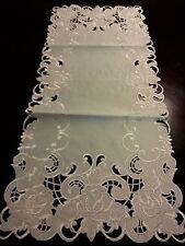 "16x72""Embroidered Tablecloth White Hybrid Tea Rose Floral TableRunner Home Decor"