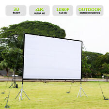 "84"" 16:9 Collapsible Portable Projector Cloth Screen +Hanging Hole Home Outdoor"