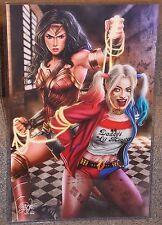 Wonder Woman vs Harley Quinn Glossy Print 11 x 17 In Hard Plastic Sleeve
