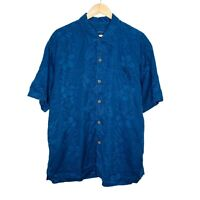 Tommy Bahama Silk Short Sleeve Floral Mens Blue Button Up Shirt Size XL