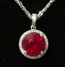 3.72 TCW Round Red Ruby & Diamond Accents Solitaire Pendant G SI1 14k White Gold