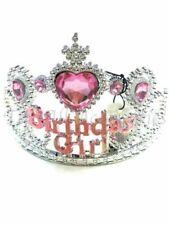 Girls Pink Heart Jewel Birthday Crown Tiara Kids Partys Fancy Dress Adults Pink