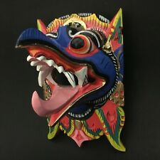Bali Indonesia Garuda Bird Wooden Mask Blue Hand Carved Wall Art Hanging Decor