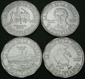 BOLIVIA 2 Bolivianos 2017 - Lot of 4 Coins - Territorial Claim to Chile -  UNC *