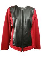 Chico's size 1 red and black faux leather and jersey knit jacket womens Size M