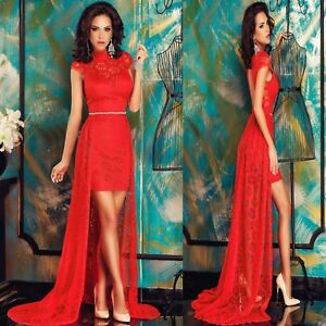 Sz M 10 12 Cap Sleeve Red Lace Halter Sexy Formal Cocktail Party Gown Long Dress
