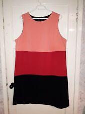 WOMENS F&F DRESS BLACK RED PEACH SIZE 20