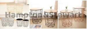 Copper Black Metal Wire Round Wood Lift Top Storage Side Table Basket Home
