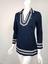 VINEYARD VINES Navy Blue Cotton White Stripe Grosgrain Ribbon Trim Tunic Top 2