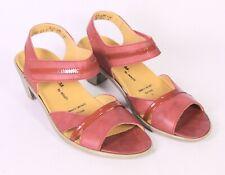 C604 Theresia M. Damen Sandalen Leder rot Gr. 39 (6G) Wechselfußbett neu