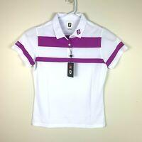 Footjoy Golf Emirates Premium White/Purple Polo Shirt Size Ladies XL (16)