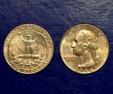1964 P SILVER GOLD TONED WASHINGTON QUARTER BU/UNC SEMI-MONSTER Rainbow 🌈 25c
