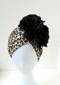 Black Leopard Print Rose Flower Turban Vintage Style Floral 1940s Hat Hair 0848