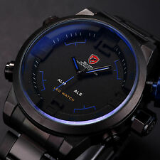 Gulper Shark Luxury Men Blue LED Digital Stainless Steel Date Quartz Sport Watch