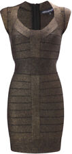 French Connection Celebrity Bronze Glitter Bodycon Bandage Zip Casp Sleeve Dress