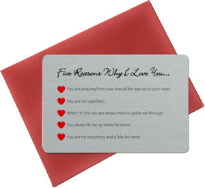 Five Reasons Why I Love You Sentimental Keepsake Metal Wallet Card - Love Heart