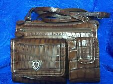Brighton Authentic Cross-body Shoulder Bag Purse handbag Brown Leather