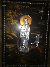 Chinese Buddha Kwan Yin Goddess Mother Of Pearl Inlaid Lacquer Ware Picture