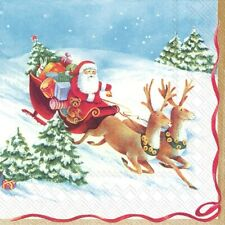4 Lunch Paper Napkins for Decoupage Craft Vintage Napkin HURRY UP, SANTA