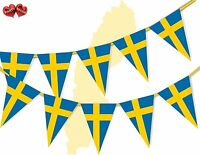 Sweden Full Flag Patriotic Themed Bunting Banner 15 Triangle flags National