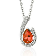 Fashion simple red Crystal Rhinestone Tear drop Charm Silver Pendant Necklace