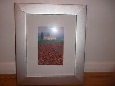 Pretty poppy field and white building print in silver frame, HAZEL BARKER