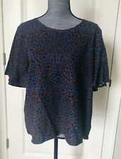 NWT For Cynthia Linen Blend Brown Blue Spots Top Size L Short Sleeve Blouse