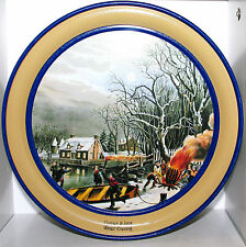 "SCHWAN'S 1998 Currier & Ives WINTER EVENING Tin Box Container Canister 10.5""w"