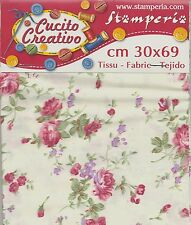 Pièce de tissu Coupon Floreal Grandes Roses Flowers Cotton Fabric GSA014