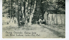 1924 Postcard Camp Grounds Camp Inis Blue Lakes Lake County CA w/ Midlake Cancel
