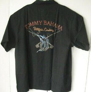 TOMMY BAHAMA Embroidered BILLFISH COWBOY HAWAIIAN BLACK SILK CAMP SHIRT XL
