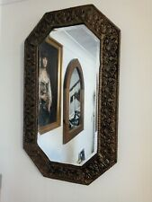 "Vintage Victorian Art Nouveau Wall Mirror brass metal 29"" X 17"" French"