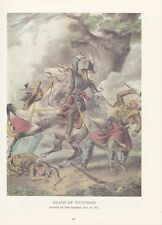 "1974 Vintage Currier & Ives ""THE DEATH OF TECUMSEH"" (WAR 1812) COLOR Lithograph"