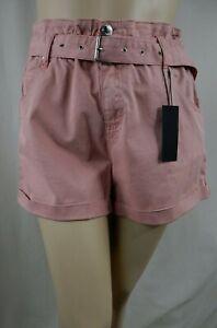 NEW City Chic Sexy Peony Pink Stretch Waist N Belt Denim Shorts Plus 14 #A11